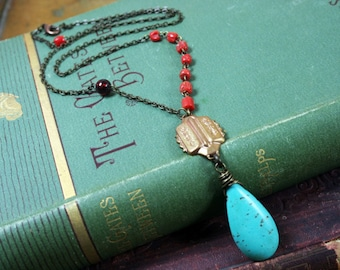 Turquoise Coral Necklace Vintage Pendant Jewelry
