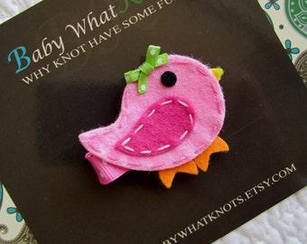 Bird Hair Clip, Pink Bird Baby Hair Clippies, Girl Barrette, hcbird02