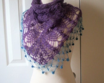 Christmas gift ideas, gift under 25, Hand knitted cashmere Triangle Large Shawl - scarf - collar - Capelet - Cowl - Mother's day gift