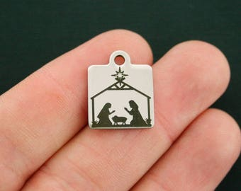Christmas Nativity Stainless Steel Charm - Exclusive Line - Quantity Options - BFS2764