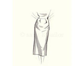 FLASH SALE til MIDNIGHT Vintage Fashion Sketch Dress 1, Girls Room decor, nursery decor, neutral tones, grey, cream, girls room prints