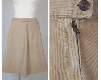 Vintage 70's Skirt A-line Knee Length Corduroy Beige Cotton UK14/16 EU 42/44