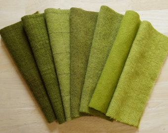 Mossy Bronze-Gold-Green Wool Fabric - Hand Dyed and Felted Wool Bundle Fabric - Applique - Rug Hooking