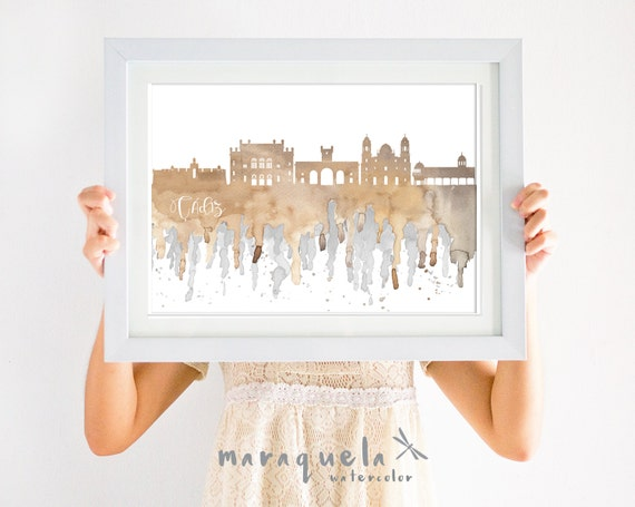 CADIZ Skyline ANDALUSIA Spain, NEUTRAL colors hues watercolor, affiche Cadix trip Spain wall art print home, poster gift decor city  Espagne
