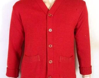 vtg 30s 40s Sand Knit BAKELITE BUTTONS Red Wool Cardigan Sweater varsity sz S