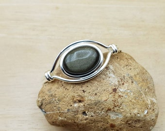 Golden sheen Obsidian cuff bracelet. Reiki jewelry uk. Womens Silver plated adjustable bracelet.