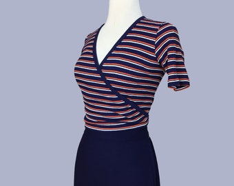 Layaway / NOS French 1960s  striped cotton blouse/ Deadstock 60s vintage shirt / pinup top / Rockabilly