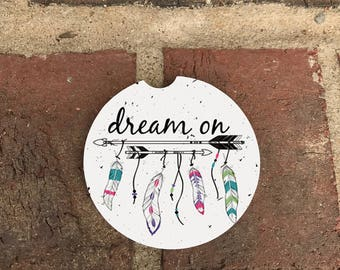 Custom Dream/Enjoy the Day Absorbent Stone car coasters (set of 2)