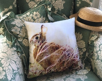Indoor pillow cover with pillow insert, Indoor pillow cover, Bunny Time