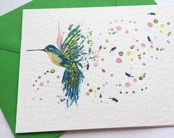 Hand foiled Hummingbird card