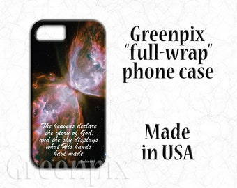 Butterfly Nebula cell phone case, space photography, scripture Bible verse, inspirational religious quote, iPhone X,  8, 7, 6, 6S Plus