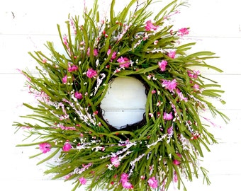 Wedding Wreath-Mothers Day Wreath-Spring Wreath-Weddings-PINK WILDFLOWER-Summer Twig Wreath- Home Decor-Gift For Mom-Front Door Wreath