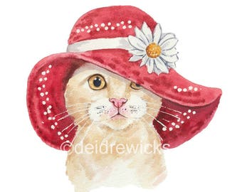 Cat Watercolour Print - Cream Cat in a Floppy Summer Hat, Watercolor Painting