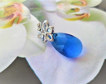 Drop pendant Royal Blue faceted flower Rhinestones, 6 mm large hole bail Support