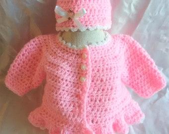 Newborn Sweater Set-Pink Newborn Sweater Set-Crocheted Sweater Set-Crocheted Newborn Sweater Set-Crocheted Pink Sweater Set-Newborn Clothes