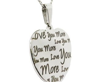 "Stainless Steel Heart With ""Love You More"" Pendant Necklace"