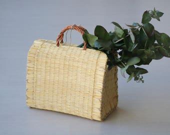 Reed-Tasche, portugiesische Korb, Rietmand, Markt, Tasche, Sommer-Korb, Cesta de Paja, natürliche Korb, Strohkorb, panier de Paille.