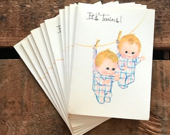 Vintage Twins Birth Announcements - Set of 10 - Vintage Cards, Vintage Baby Cards, Vintage Announcements, Vintage Baby Announcements