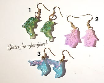 Handcrafted resin animal-shaped earrings