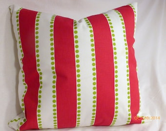 Premier Prints Lulu Stripe twill  - Red and Green -Throw Pillow - 18 x 18 Pillow cover - striped pillow cover - Christmas pillow cover