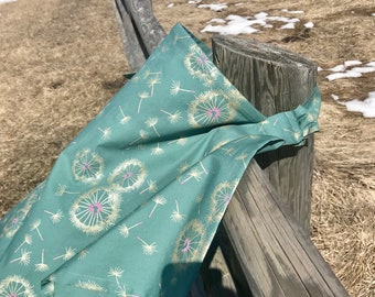 Premium Cotton / Nursing Privacy Cover / Extra Large / Bonus Pocket / Modern / Designer / Teal Gold Floral Dandelion