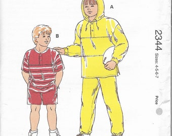 Kwik Sew sewing pattern 2344, sizes 4,5,6,7  Boys' shirts, pants, and shorts
