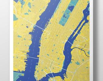 Manhattan Map Poster Yellow + Blue