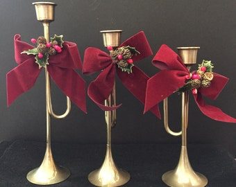 Christmas Around the World Brass Horn Candle Holders with  Embellishments - Set of 3