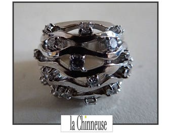 french STERLING SILVER Ring / silver ring with Zircons / engagement ring / Vintage jewelry / Silver ring / Gift for her.