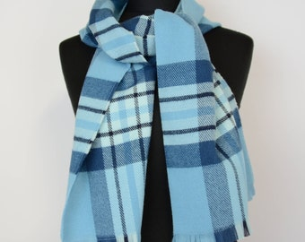 Checkered Scarf - blue scarf - winter scarf -  acrylik scarf - woman scarf - warm scarf - acrylik scarf - acrylic winter accessories