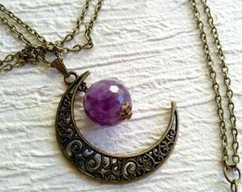 Bronze chain necklace with crescent and Violet Stone