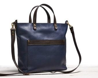 Leather shoulder bag | Blue leather laptop bag Leather handbag Leather Purse Leather Bag Handbag Blue Shoulder Bag Blue Bag