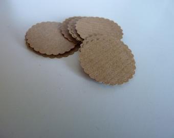 Circle sticker envelope seals - kraft brown with scalloped edges