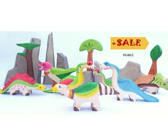 Wooden Dinosaurs, Play set, Wooden toys, Prehistoric animals, Dino toy, Wooden dino, Jurassic world toys, Nature table toys, Toy for toddler