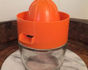 Vintage Gemco Brand Citrus Juicer with Bright Orange Spout Strainer