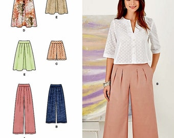 Wide Leg Pants Pattern, Culottes Pattern, Shorts Pattern, Skirt Pattern, Simplicity Sewing Pattern 8092