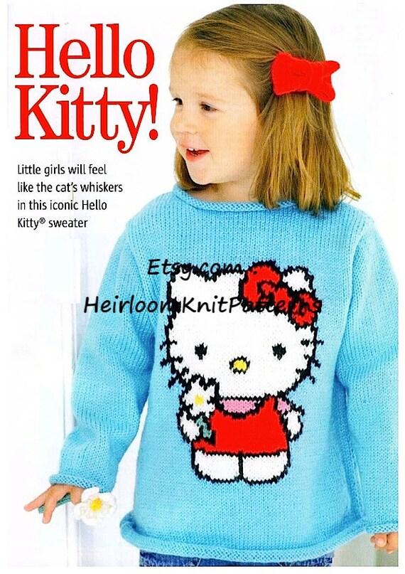 Girls Iconic Hello Kitty Sweater Jumper Knitting Pattern Knit Girls ...