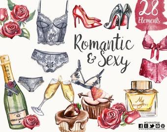 Valentine's Day Valentine Clipart - Digital Valentine's Day watercolor Clipart - Lingerie clip art bachelorette  Instant Download