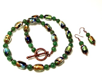 Necklace and Earring Set -  Green Blue and Copper Lampwork and Aventurine Necklace with Matching Earrings
