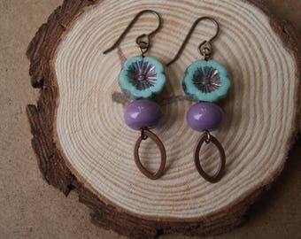 Bohemian Floral Czech Glass Earrings.Turquoise Lavender Purple.Brass Jewelry.Beutifully Bohemian Earrings.Artisan Lampwork.Bohemian Lampwork