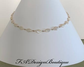 Peach - freshwater pearls necklace