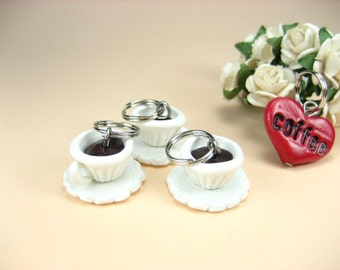 Coffee Cups and Hearts - Set of 4 knitting food polymer clay