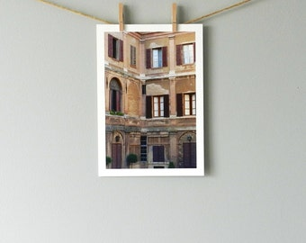 Italian Photography, Rustic Home Decor, Italian Buildings, Architectural Art, Courtyard Art, Italy Wall Art, Urban Decay, Siena Italy Print