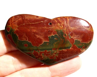 Picasso Jasper Pendant - Heart Pendant - Red Jasper - Red Gemstone Pendant - Jewelry Supply - Semi Precious - #310
