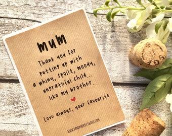 Funny wine label, Funny mum gift, birthday, mum gift, for her, wine bottle, wine labels, mum birthday, wine bottle, wine gift, spoilt bro