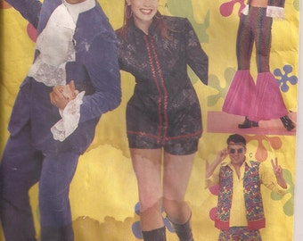 """Butterick 6754 Men's and Women's Austin Powers and 60""""s Costumes. Sizes XS, S, M, L, XL.  Vintage 2000"""