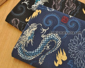 Bamboo Joint Japanese Kimono Cotton Fabric, Vintage Dragons Lightning On Dark Blue Black- 1/2 yard