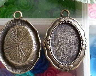 top: 18 x 25 mm support(medium) cabochon. 39 x 27 x 3 mm, hole: 3 mm antique bronze