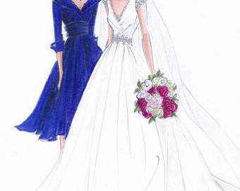 Mother of the bride gift - Wedding gift - Mother's day gift - Custom Wedding Gown Illustration 2 BODIES