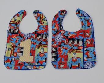 "Superman First Birthday Bib, ""1"" Applique Optional. Feeding, Teething, Baby, Boy Superhero"